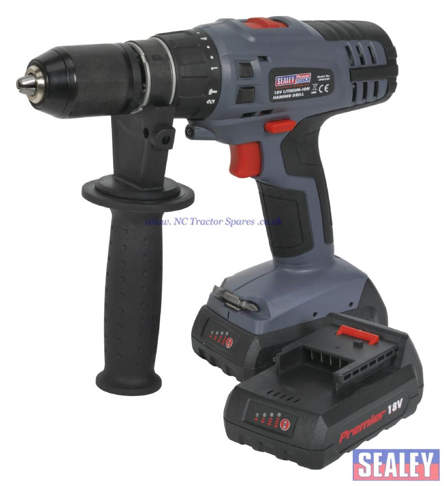 Cordless Lithium-ion Hammer Drill/Driver 18V Super Torque 1hr Charge - 2 Batteries